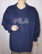 Vintage Fila Logo Spell Out Fleece Sweatshirt Medium XXL Navy Blue