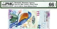 MONEY BERMUDA $2 DOLLARS 2009 MONETARY AGENCY PMG GEM UNC PICK # 57b
