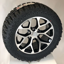 "Chevy Silverado Tahoe LTZ 20"" Black & Machine Snowflake Wheels Rims M/T Tires"