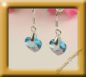 Ohrhänger Silber 925  mit ORIGINAL SWAROVSKI Kristalle Blau Herz
