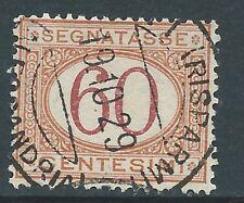 """1870 Regno d'Italia """"SEGNATASSE 60 CENTESIMI OCRA E CARMINIO"""" USATO"""