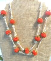 Miriam Haskell 2-Strand Glass Baroque Pearls,Crystals and Orange Beads Necklace