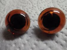 15/16 mm AMBER GLASS TEDDY EYES ON HOOPS x ONE PAIR