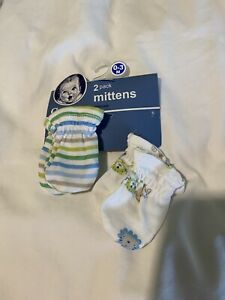Gerber Baby Boy 2-Pack Blue/Green/Grey Mittens Size 0-3M
