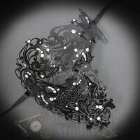 Womens Half Skull Phantom Venetian Filigree Metal Masquerade Mask [Black]