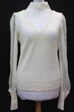 ALICE  OLIVIA Ladies Cream Layered Look Cashmere & Silk Blouse Top Size L