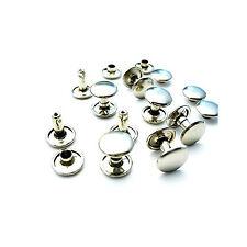 9mm 100 Silver 2 Pieza Doble PAC remaches tubulares De Cuero Punk Craft reparación hágalo usted mismo