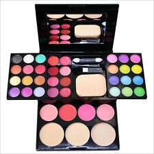 Pro Warm Colors Matte Shimmer Eyeshadow Palette Makeup Set & Brush Mirror