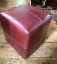 "Pouffe Footstool Ottoman Genuine Leather Cube Table Seat 38cm/15"" Sq"