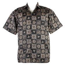 Thai Silk Shirt Modern Style Short Sleeve Men Black & Brown XL se06b