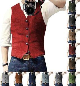 Casual Red Mens Tweed Waistcoats Herringbone Vests Vintage Wool Slim Wool S-3XL+