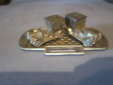 VINTAGE JAPAN METAL CAR'S AND TRAY SALT & PEPPER SHAKERS CARS ARE 1 3/4 LONG