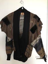 Vintage 80s 90s Couture GABANI Sweater Jacket MINK Leather STUDS Glam Disco