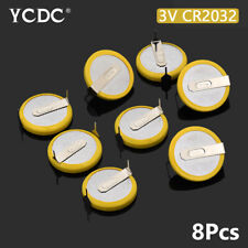 Battery CR2032 3V 2 Tabs Coin Cell For Main Board Toy Electronic Scale 8Pcs FE8