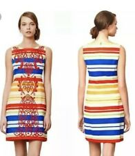 Tabitha Anthropologie Banded Totem Shift Stripe Embroidery Sheath Dress Sz 12