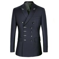 Mens Double Breasted Lapel Coat Pants Suits 2 Piece Business Dress Formal Career