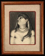 Original Charcoal & Pen Portrait by Texas-Based Artist RIC GRIGSBY 2002 Framed