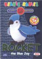 TY Beanie Babies BBOC Card - Series 2 Birthday (GREEN) - ROCKET the Blue Jay -NM