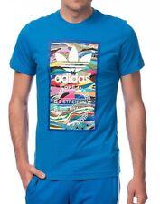 Hombre Nuevo Adidas Originales Trefoil Logotipo Azul Camiseta Top -