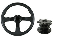 F2 BLACK Sports Steering Wheel + Quick Release boss 42BK for MITSUBISHI