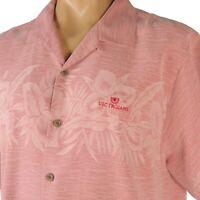 Tommy Bahama Hawaiian Shirt Mens L USC Trojans Embroidered Jacquard Floral