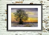 Snowy Landscape at Sunset, Print from my own Original Watercolour Painting