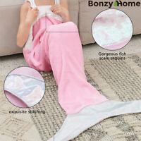 Mermaid Tail Blanket Soft Flannel Fleece for Girls Kids Teens Napping Coverlet