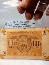 WWII 1943 50 LIRE MILITARY ISSUE AUTHORITY IN TRIPOLITANIA ITALY NICE CONDITION