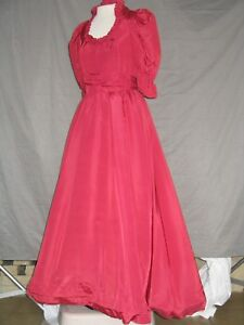 Victorian Dress Womens Edwardian Costume Civil War Style Cranberry  Gown