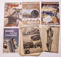 Vintage Lot 1930s THE MOTOR AUTOCAR Magazines Pages British Morris Vauxhall Ford