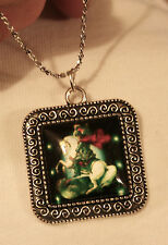 Lovely Swirl Rimmed Silvertn Square St. George Warrior Cameo Pendant Necklace