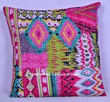 "Pink Ikat Kantha Decor Pillow Cover 16"" Bohemian Hippie Cushion Cover Gypsy Boho"