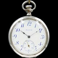 1908 ELGIN Mechanical Pocket Watch Grade 291 Large 16s 7 Jewels BLUE Numbers!