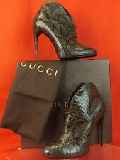 NIB GUCCI KIM MOSS PYTHON LACE UP CURVE HEEL RUNWAY ANKLE BOOTS 37 7 $1550