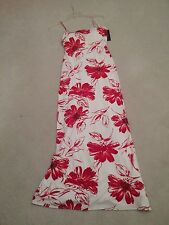 NWT JSBoutique Sexy Red And White Floral Long Spaghetti Strap Dress Size 8