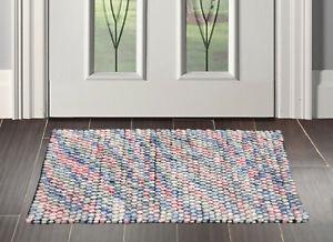 "1'8"" x 2'8"" loomBloom Handmade 100% Polyester Mat Area Rug Pink AOR12609 Indoor"