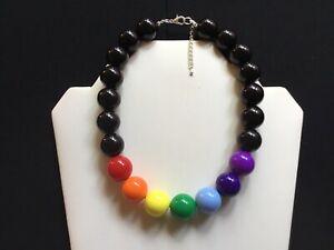Women's Chunky Rainbow Bead Choker Necklace