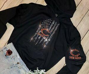 New Women's sz XL Chicago Bears Unisex Hoodie Rhinestone Sweatshirt