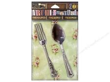 7 Gypsies Architextures Treasures Embellishments- Tarnished Silver Fork & Spoon