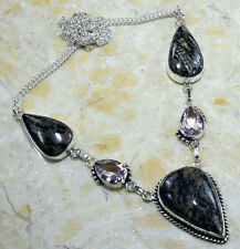 """DENDRITIC OPAL+PINK TOPAZ NECKLACE 18 1/2""""; S70933"""