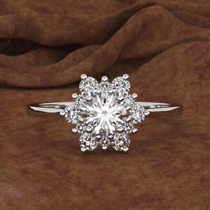 925 Sliver Snowflake White Topaz Ring Wedding Engagement Women Gift Wholesale