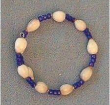 Handmade Bracelet: White Hawaiian Job's Tears and cobalt blue seed beads