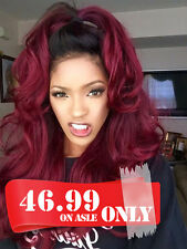 Women's Front Lace Wig Ombre Burgundy Synthetic Hair Long Natural Wavy Heat Safe