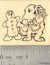 Dachshund Dog Christmas Rubber Stamp (With Gingerbread Boy) H15202 WM