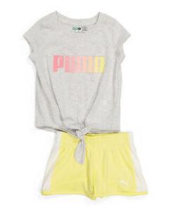 NWT Toddler Girls Puma 2pc short set 4T Yellow soccer running t shirt shorts