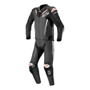 Alpinestars Atem V3 2 Piece Leather Motorcycle Motorbike Race Suit Black & White