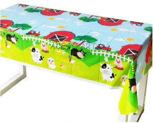Farm Animals Birthday Party Supplies Tableware Table Cover Plastic Decorations