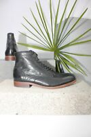 H By Hudson Black Leather Lace Up Mondego Formal Ankle Chelsea Boots 8 42 New