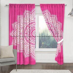 New Pink Ombre Cotton Mandala Window Indian Drape Hanging Curtain Set Home Decor