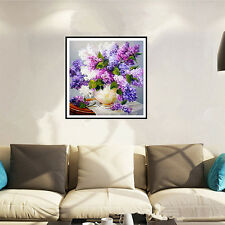 s DIY Painting Embroidery Diamond Purple Lilac Flower Vase Home Decor-3